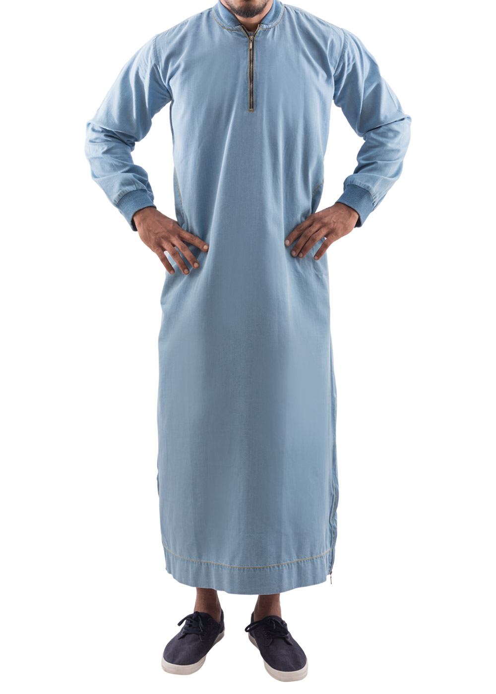 Mens Denim Thobe islamic clothing comfortable with zipper and pockets